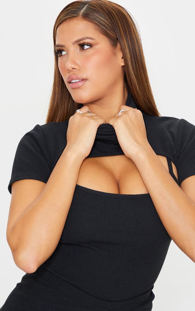 Shape Black Textured Rib Cut Out High Neck Bodysuit 4