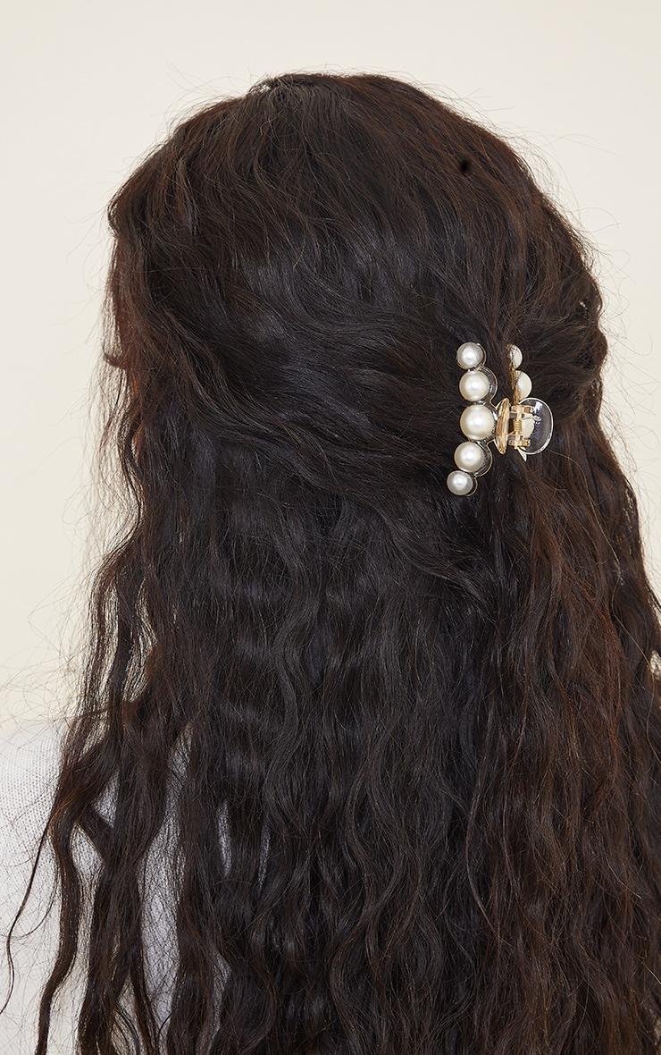 Clear Pearl Hair Claw 1