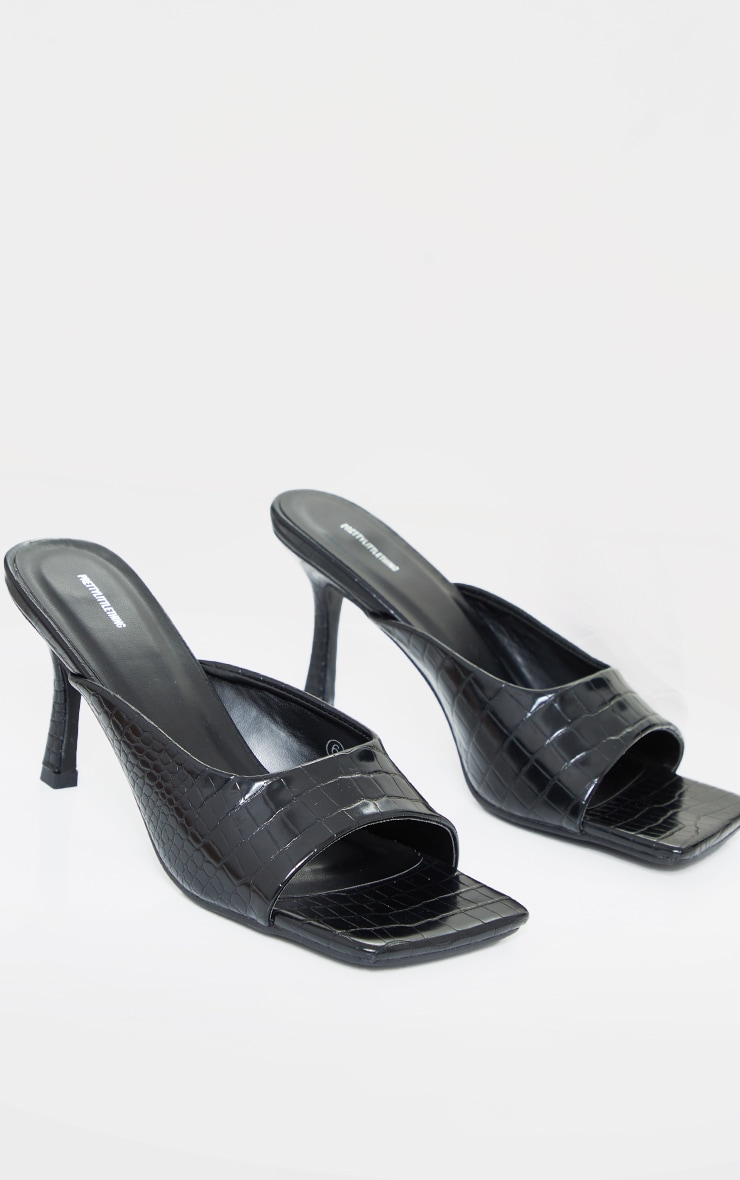 Black Croc PU Box Strap Low Heeled Mules 4
