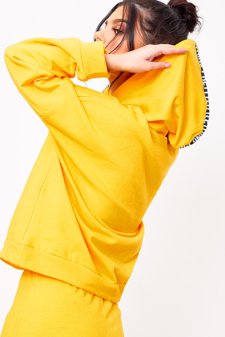 PRETTYLITTLETHING Yellow Branded Oversized Hoodie 2
