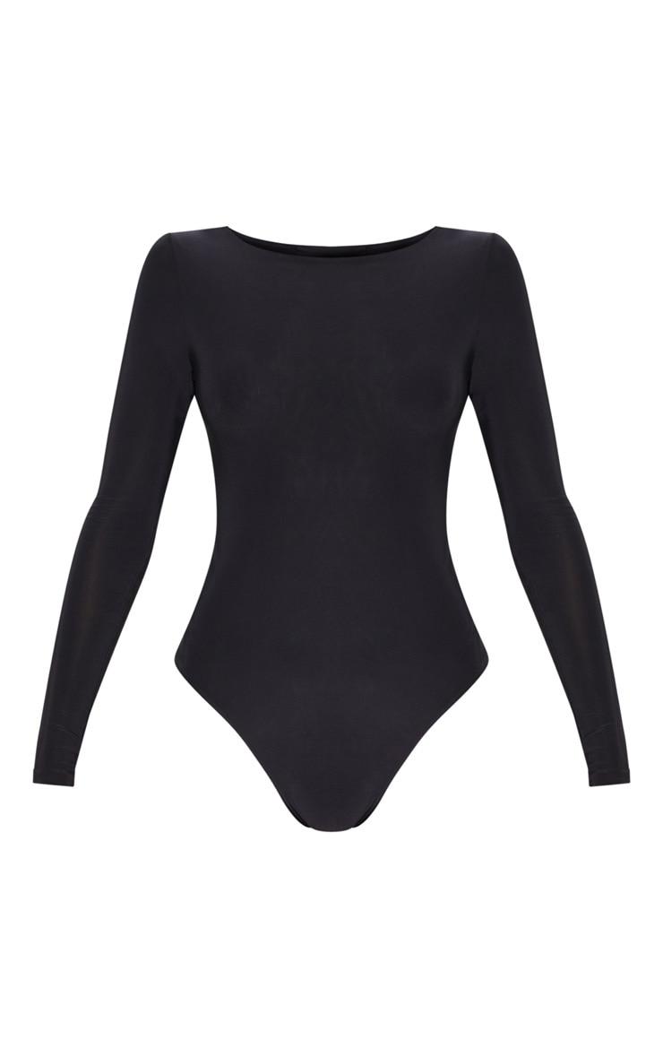 Amiee Slinky Black Longsleeve Thong Bodysuit 3