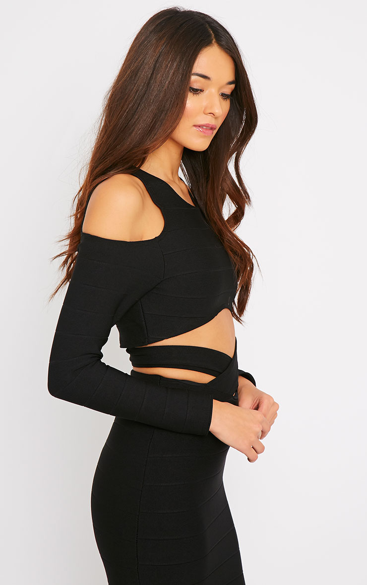 Jaimie Black Cut Out Bandage Crop Top  3