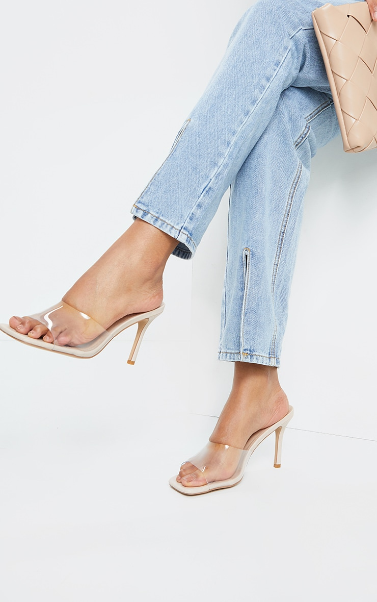 Nude Clear Strap Square Toe Mule Mid Heels 1