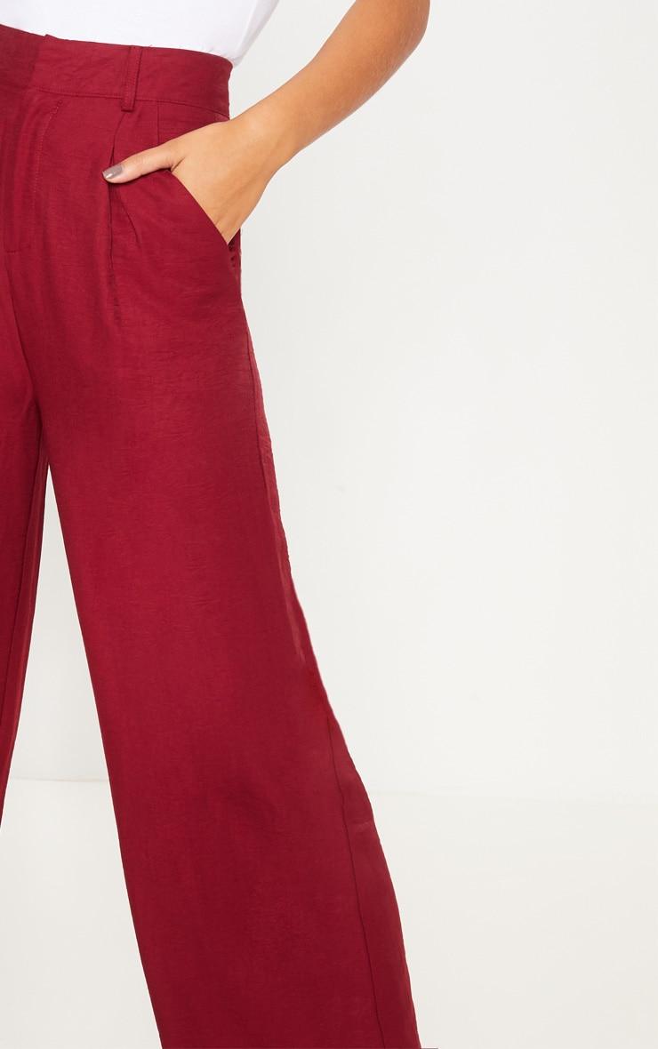 Burgundy Lightweight Pleat Front Wide Leg Pants 5
