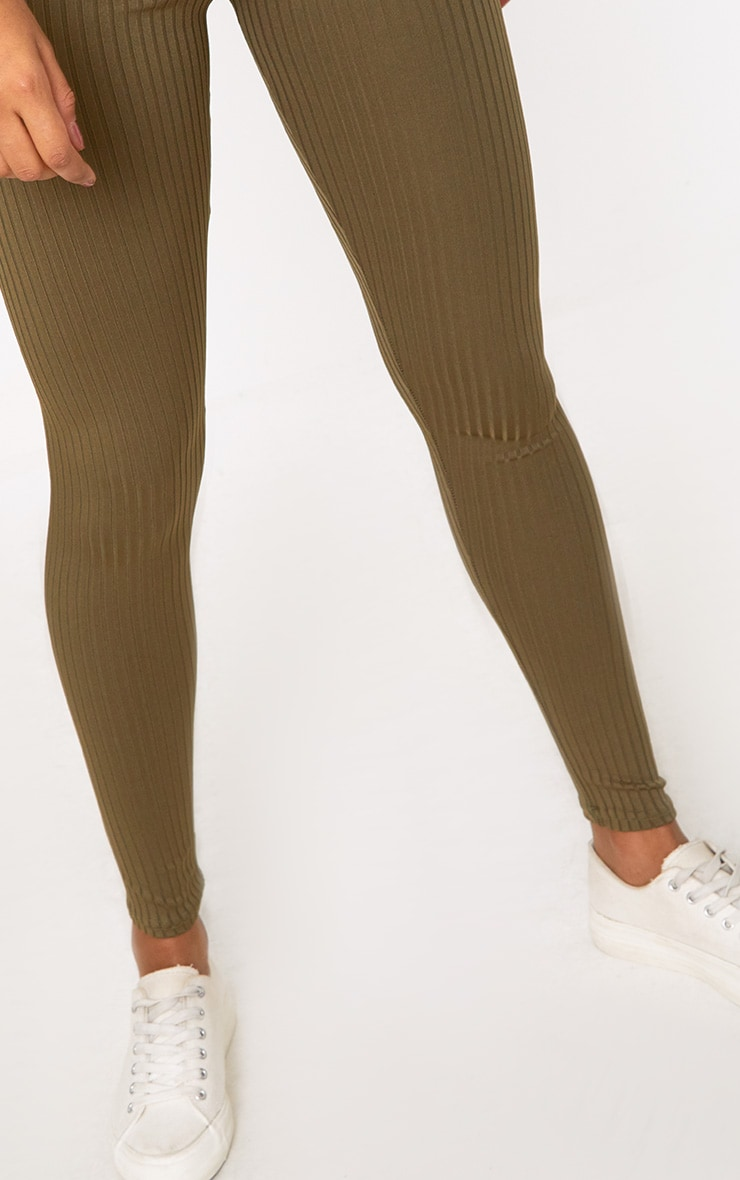 Harlie Khaki Ribbed High Waisted Leggings 5
