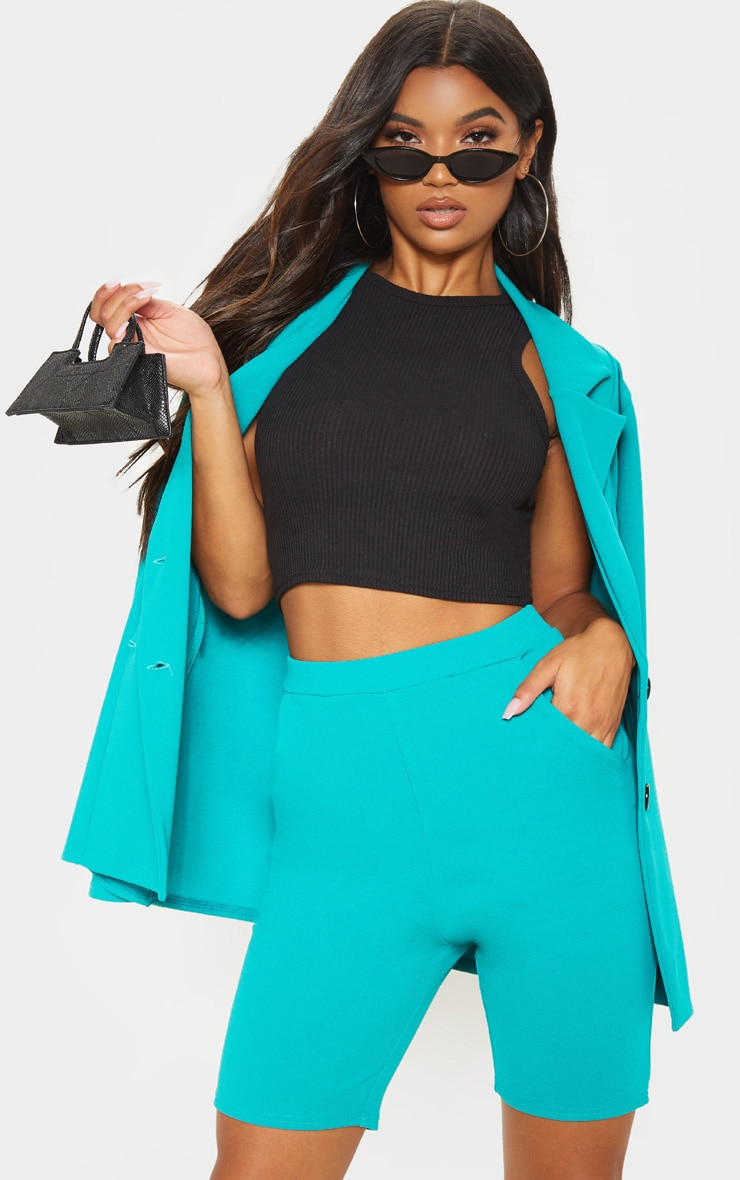 Teal Cycling Suit Shorts  1
