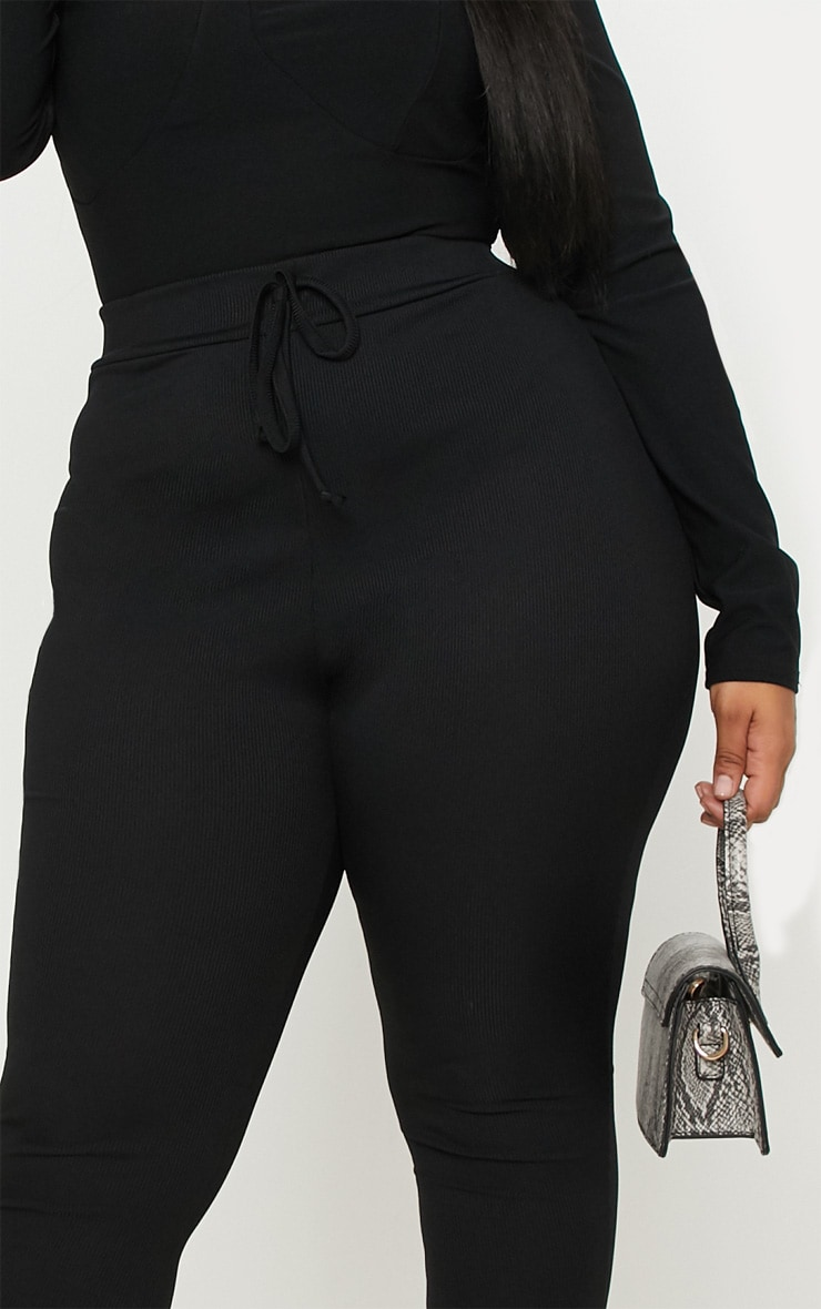 Plus Black Ribbed High Waist Leggings 5