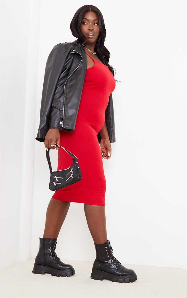 Plus Red Strappy Midi Dress 3
