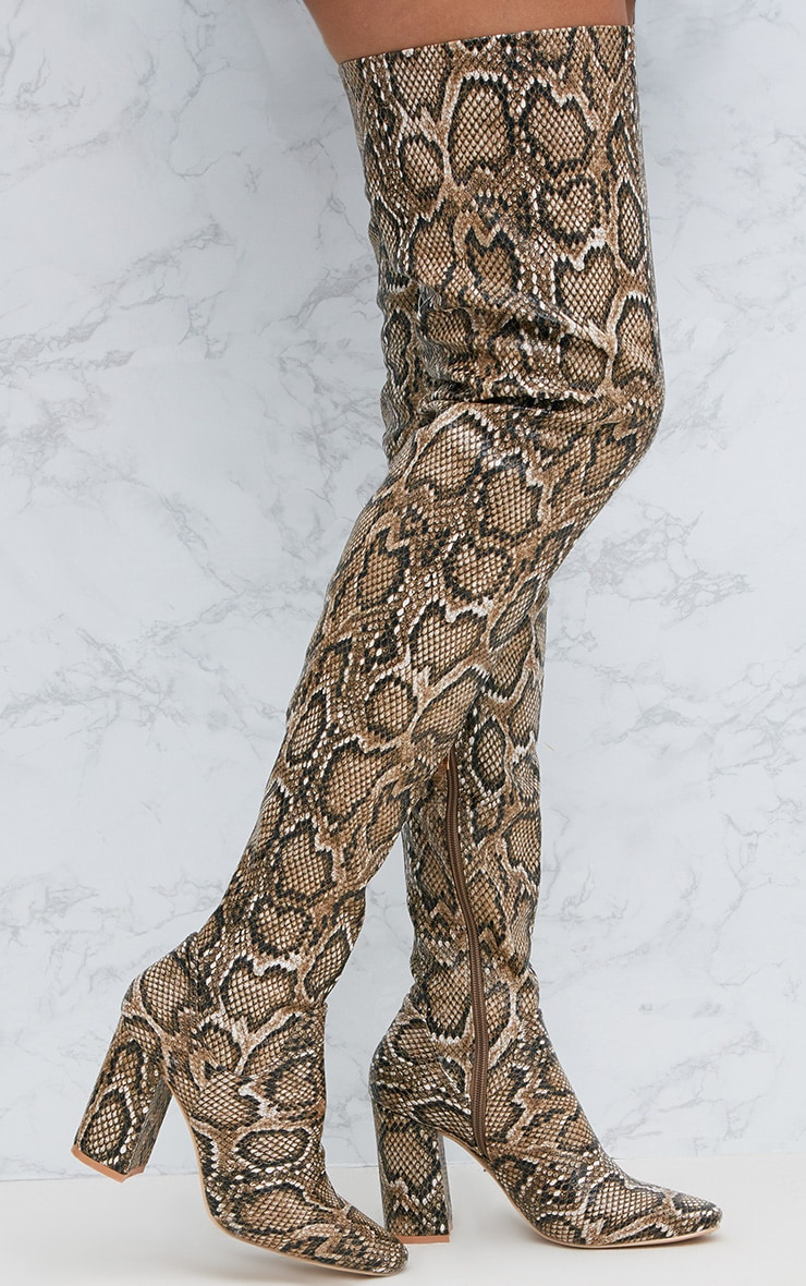 Snake PU Thigh Boot 1