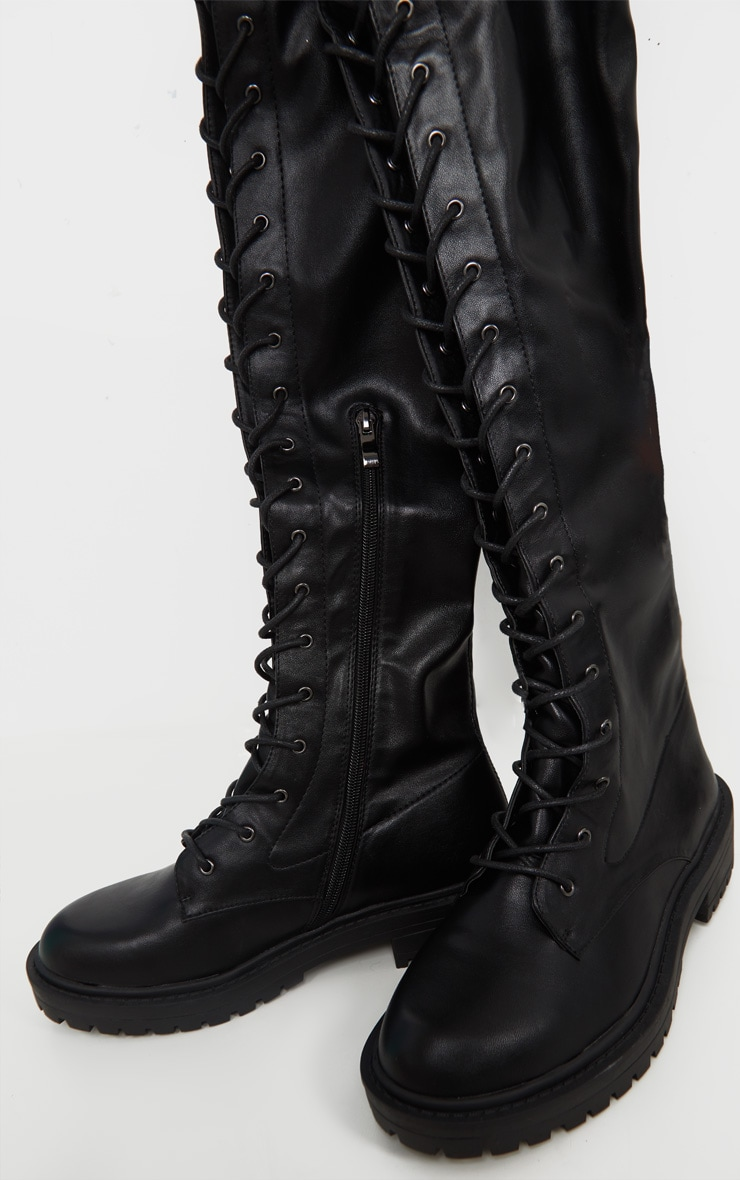 Black Lace Up Cleated Flat Over The Knee Boot 3