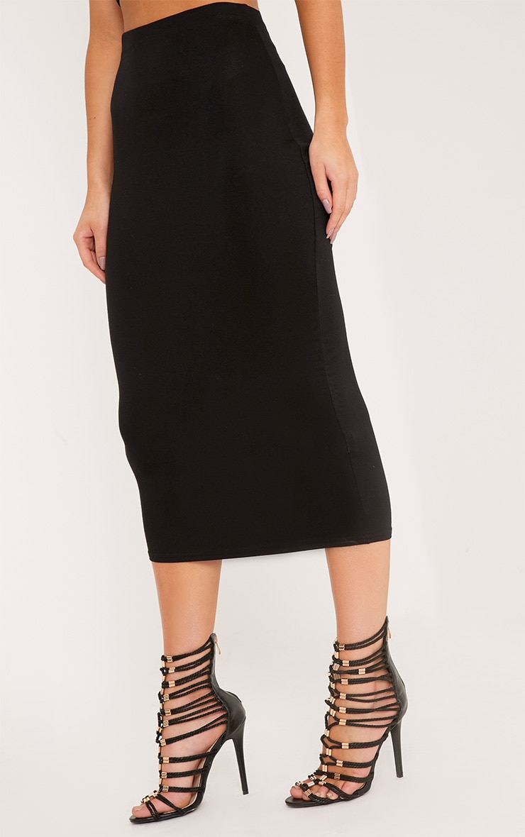 Basic Black Longline Midi Skirt 5