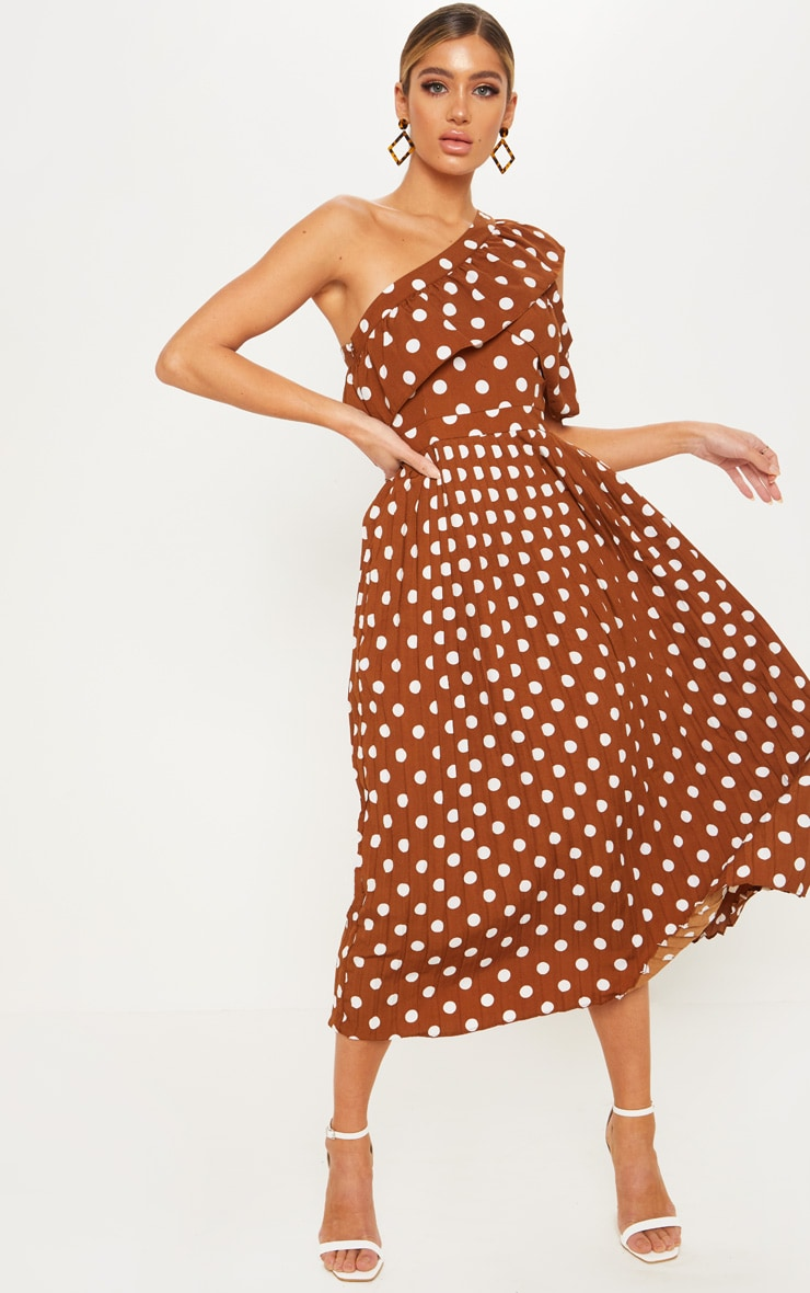 786346444880 Chocolate Polka Dot One Shoulder Ruffle Detail Pleated Midi Dress image 1