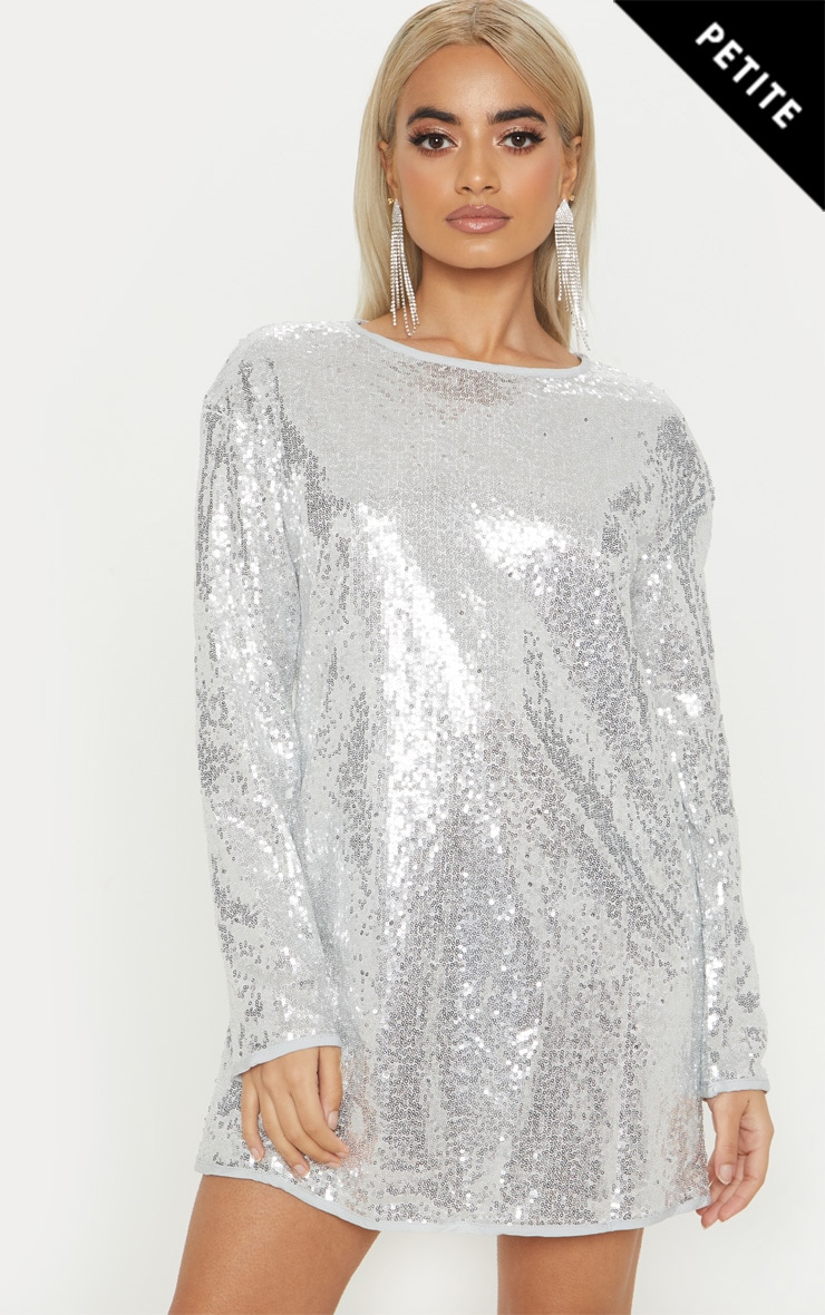 Petite Silver Sequin Long Sleeve Shift Dress