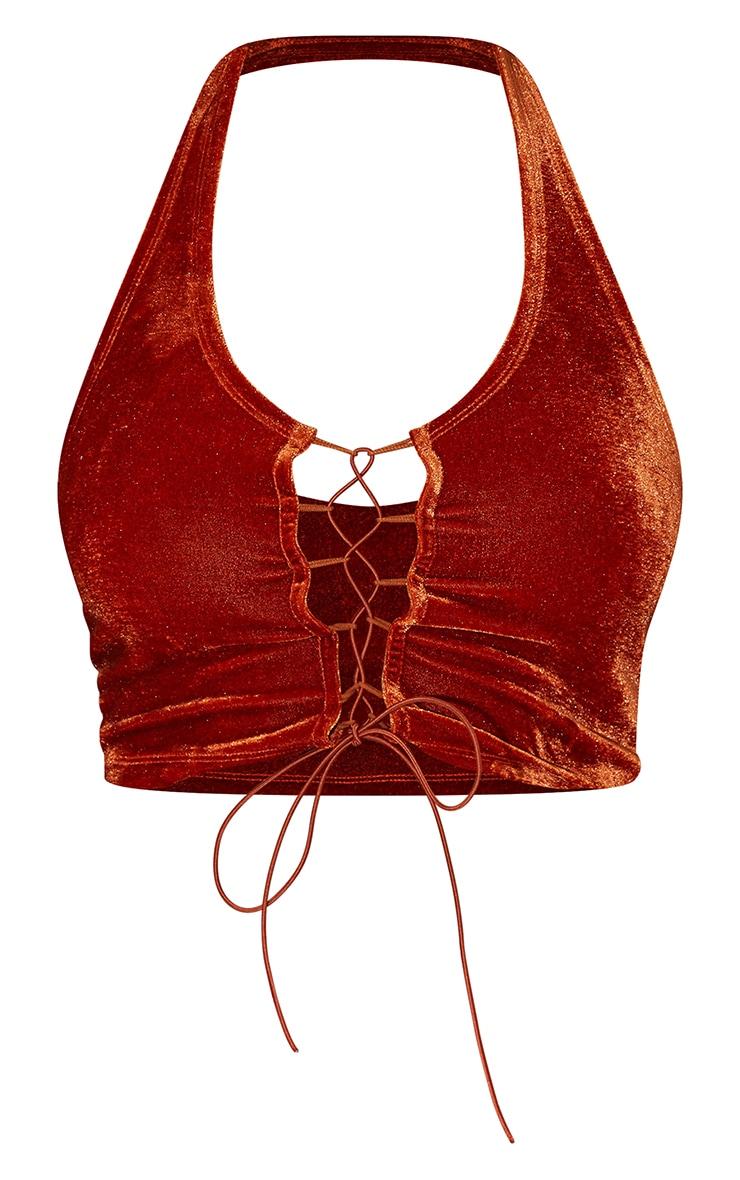 Burnt Orange Velvet Lace Up Front Halterneck Crop Top 5