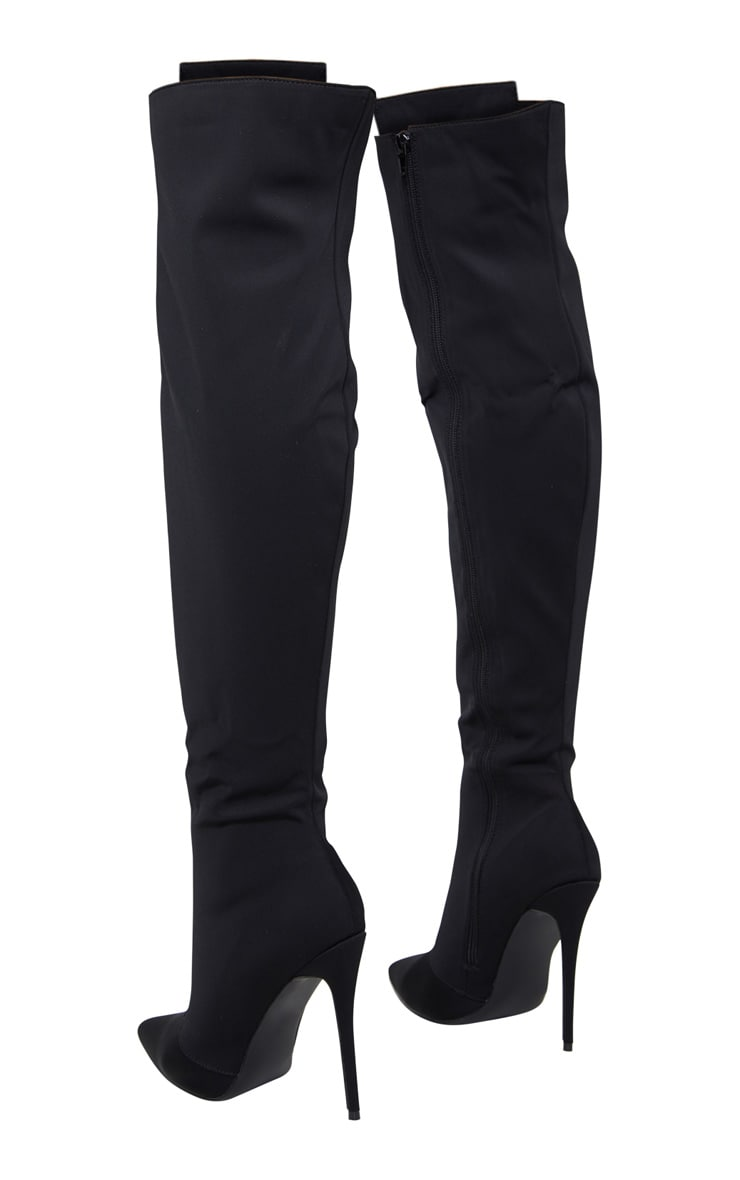 Black Hook And Eye Thigh High Boots 4