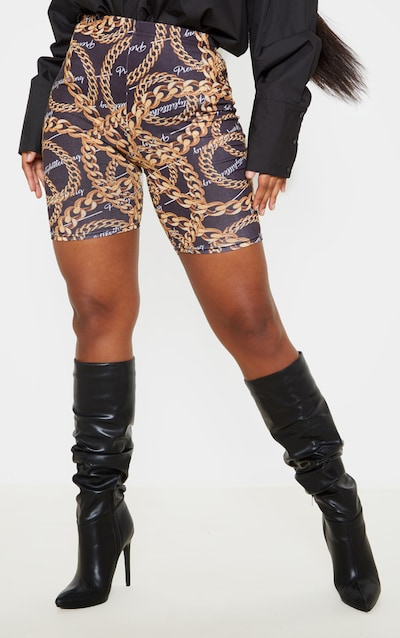PRETTYLITTLETHING Chain Print Cycle Short