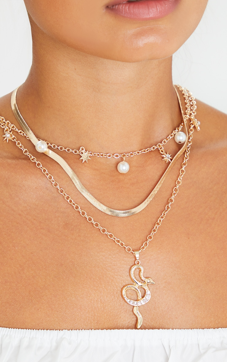 Gold Pearl And Snake Layering Necklace 2