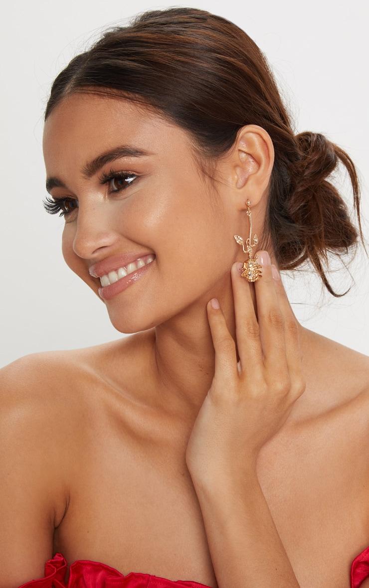 Gold Rose Drop Earrings 1
