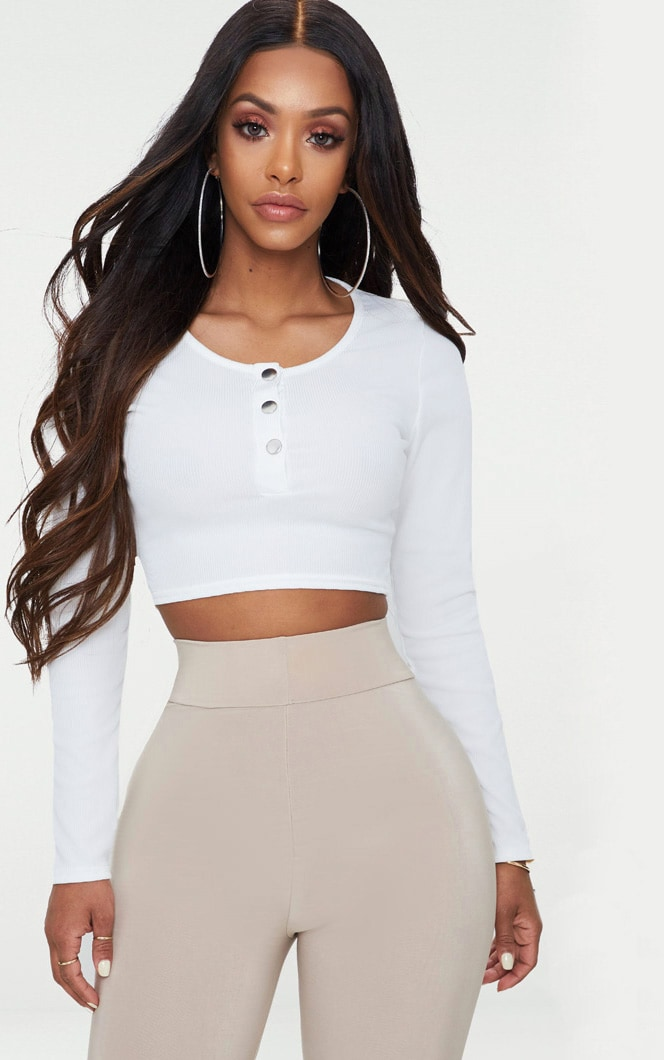 Shape White Ribbed Popper Detail Crop Top 1