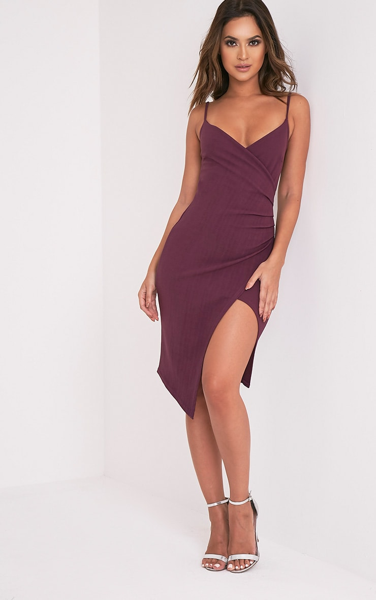 Lauriell Aubergine Wrap Front Crepe Midi Dress 5