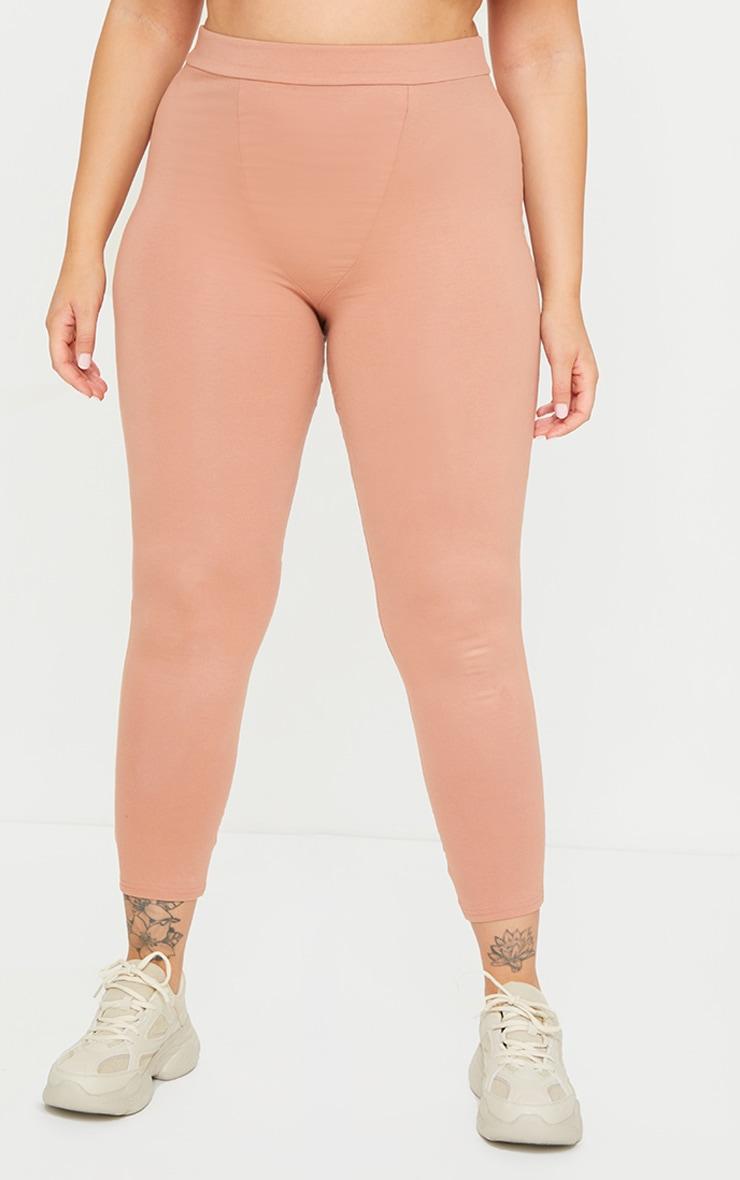 Plus Brown Cotton Seam Detail Leggings 2