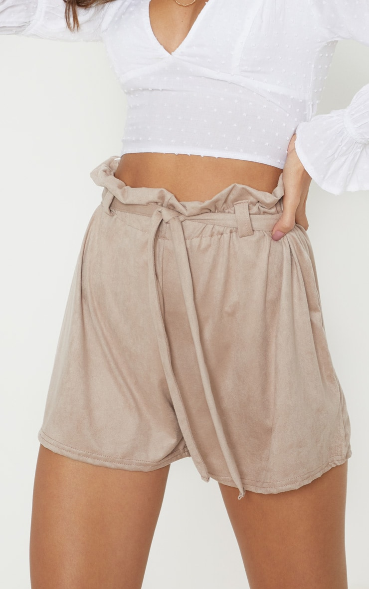 Cream Faux Suede Tie Waist Short  6