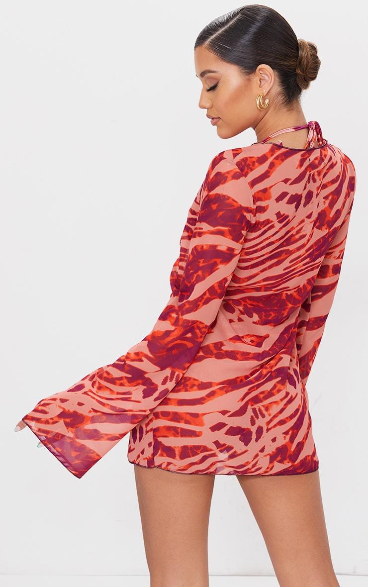 Orange Zebra Chiffon Tie Front Beach Shirt 2