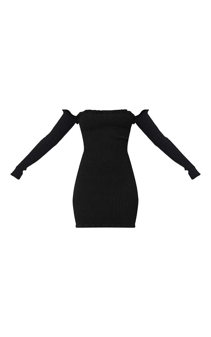 Amarae Black Ruffle Detail Knit Bardot Mini Dress 3