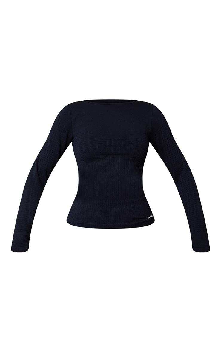 Black Seamless Rib Long Sleeve Sports Top 5