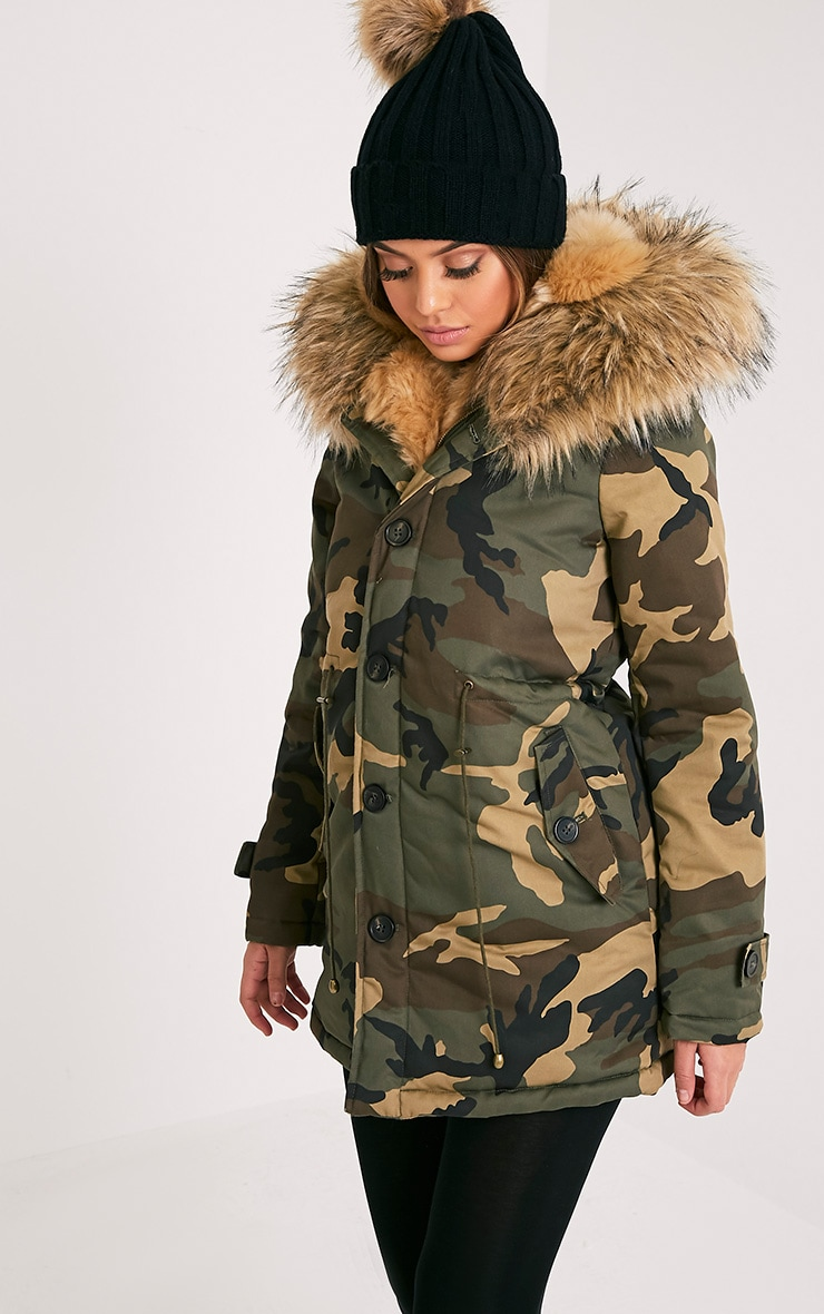 Fliss Premium parka à doublure en fausse fourrure camouflage beige 4
