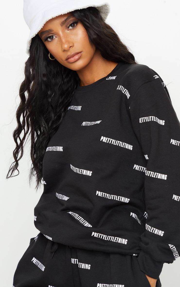 PRETTYLITTLETHING Black Printed Crew Neck Sweatshirt 4