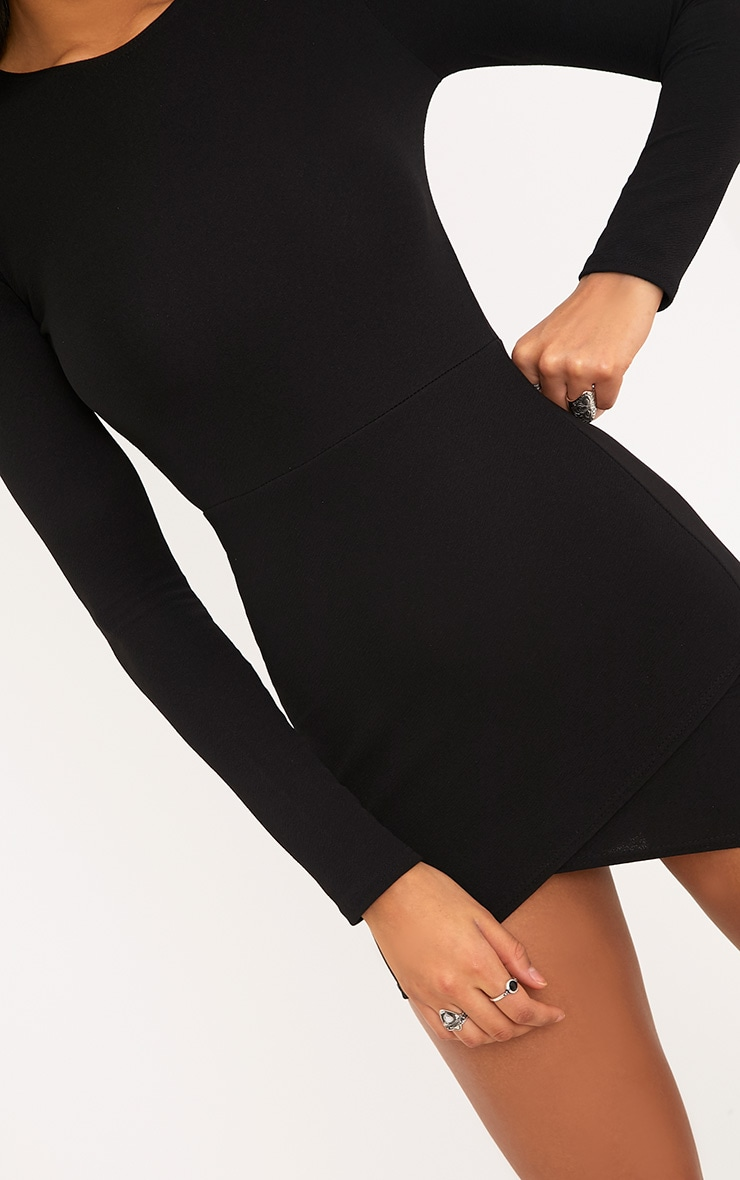 Black Long Sleeve Wrap Skirt Bodycon Dress 5