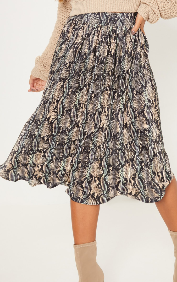 Black Printed Pleated Midi Skirt 5