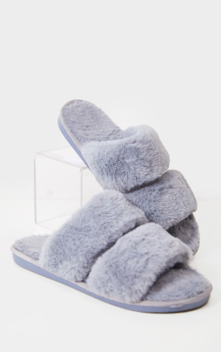 Grey Fluffy Two Strap Slippers 3