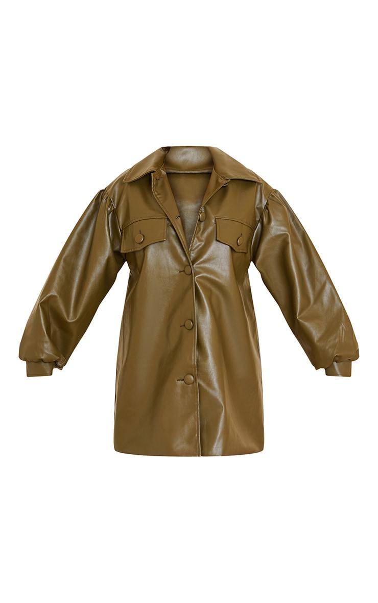 Khaki Faux Leather Drop Arm Balloon Sleeve Shirt Dress 5