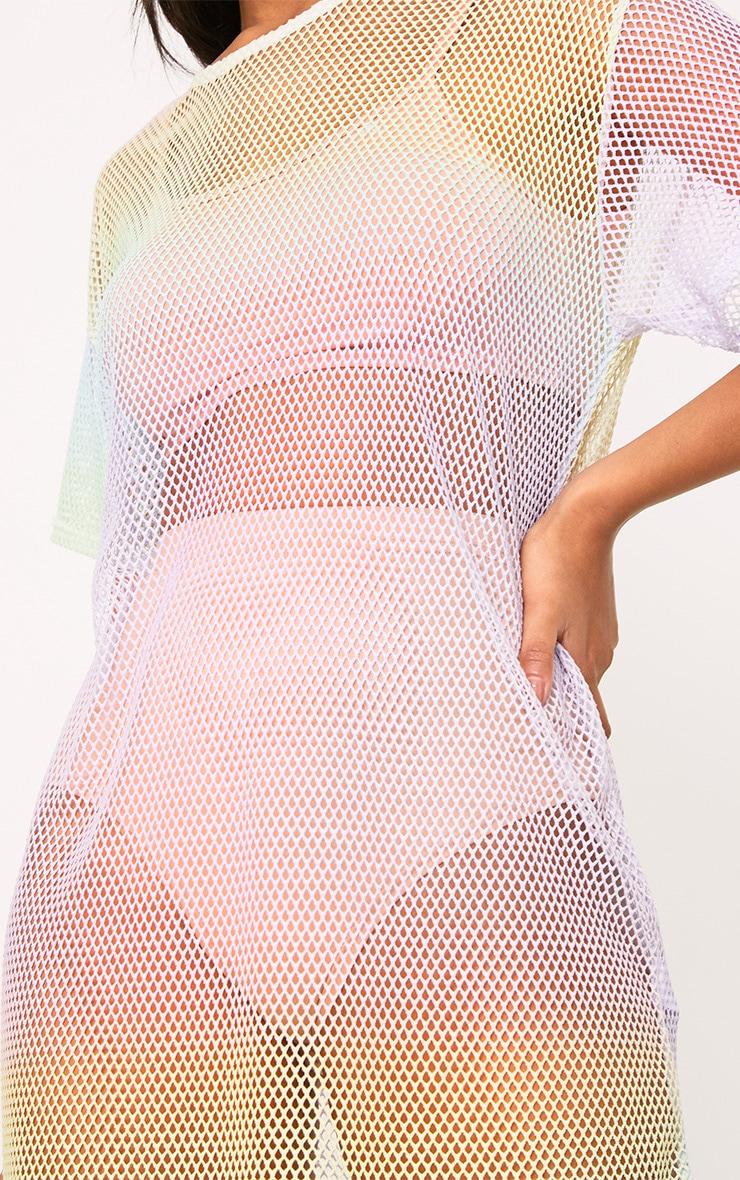 Multi Fishnet Rainbow Print T Shirt Dress 5