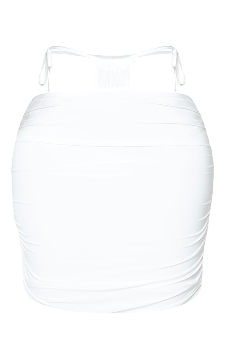 Shape Cream Slinky Ruched Tie Side Bodycon Skirt 6