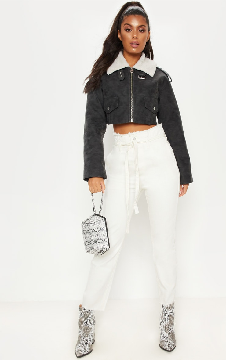 Black Faux Fur Collar Cropped Aviator  4