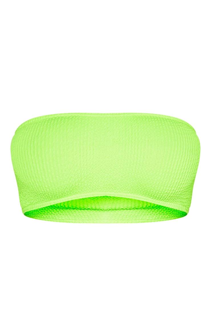 Neon Lime Crinkle Bandeau Bikini Top 3