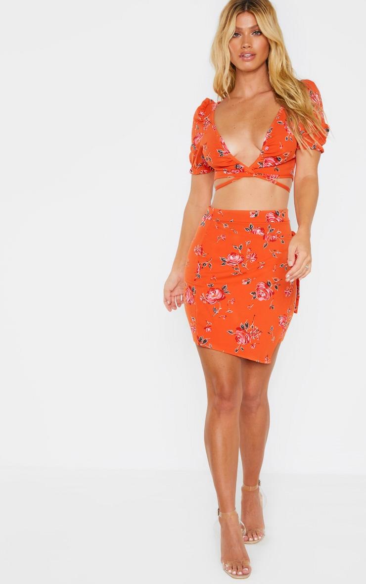 Orange Floral Print Crepe Floral Print Short Sleeve Crop Blouse 4