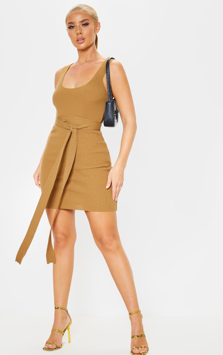 Camel Knitted Tie Detail Bodycon Dress  4