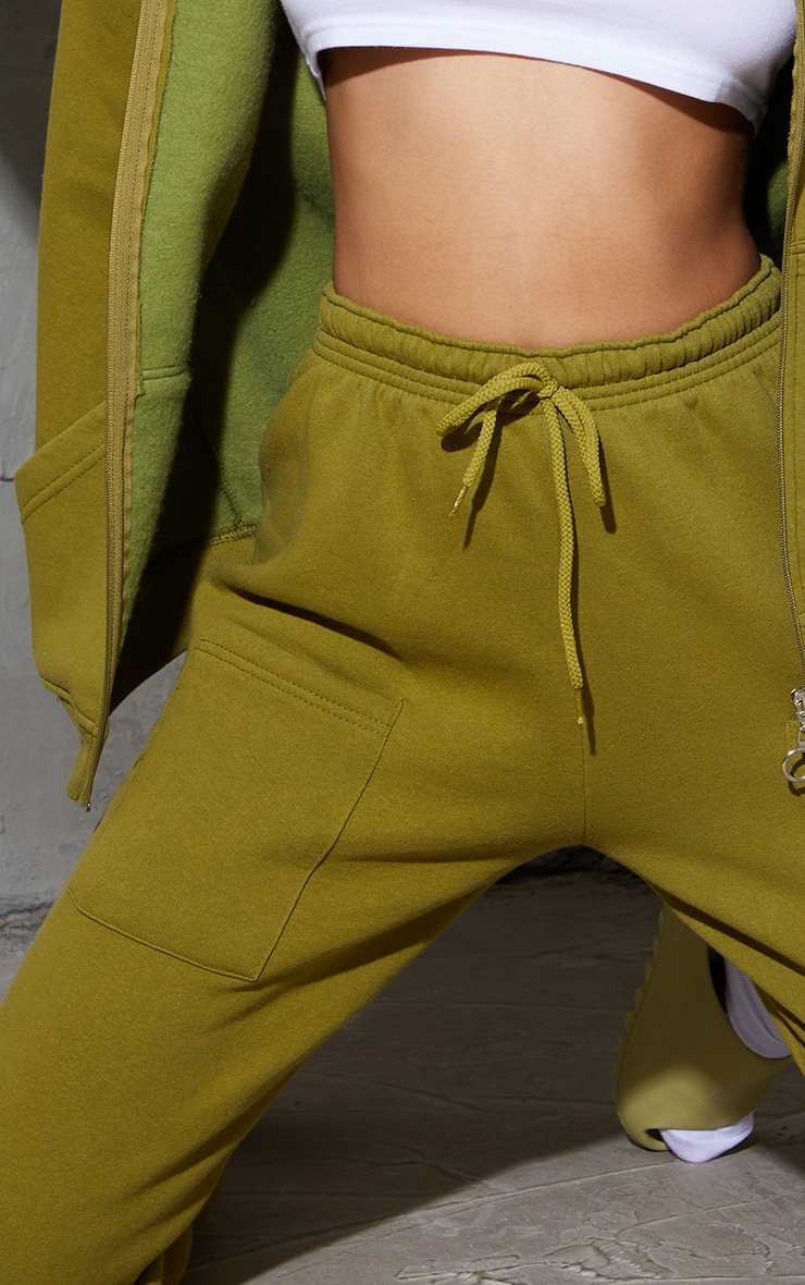 Olive Green Pocket Thigh Detail Casual Joggers 4