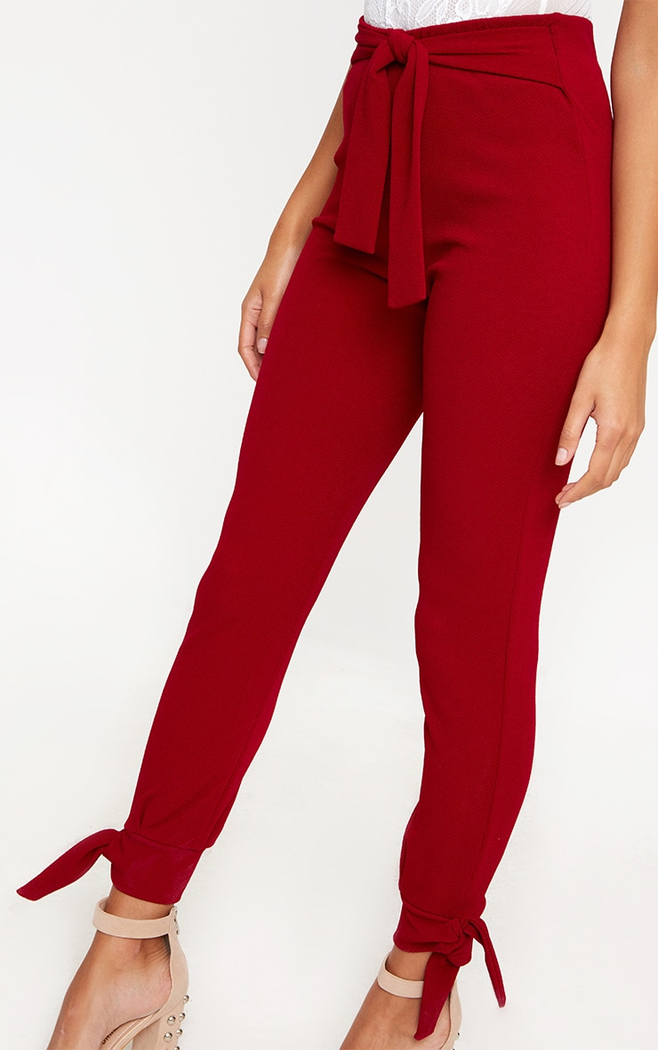 Burgundy Tie Detail Fitted Trousers 5