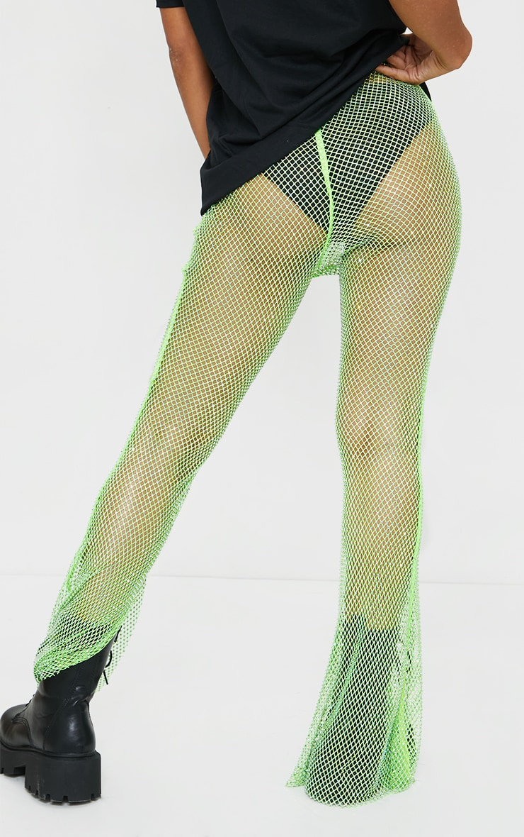 Pantalon en résille vert citron strassé à ourlet fendu 3