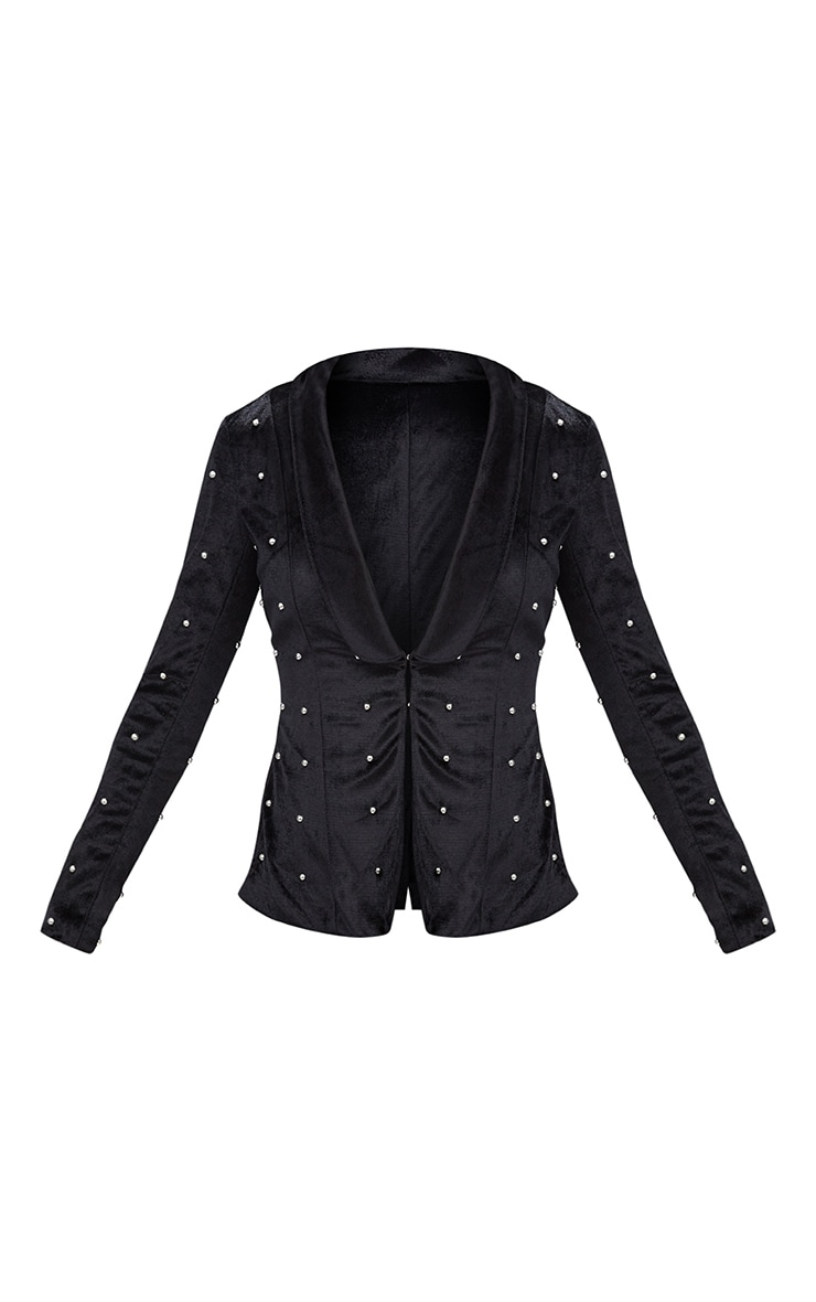 Black Embellished Velvet Suit Jacket 3