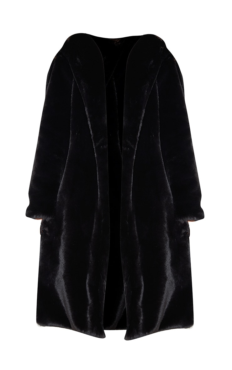 Plus Black Premium Longline Faux Fur Hooded Coat 3