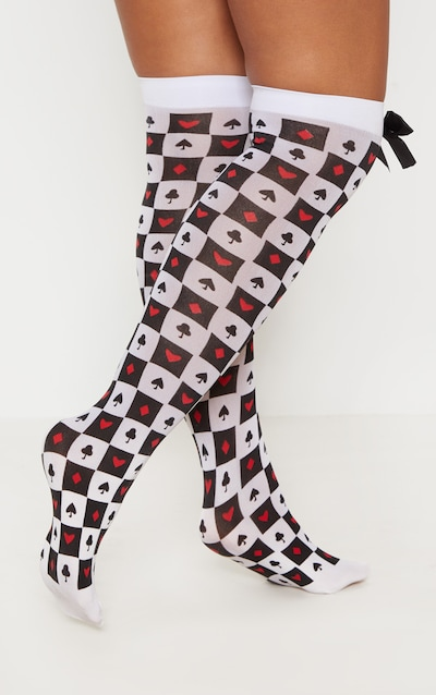 Queen Of Cards Stockings With Black Bow