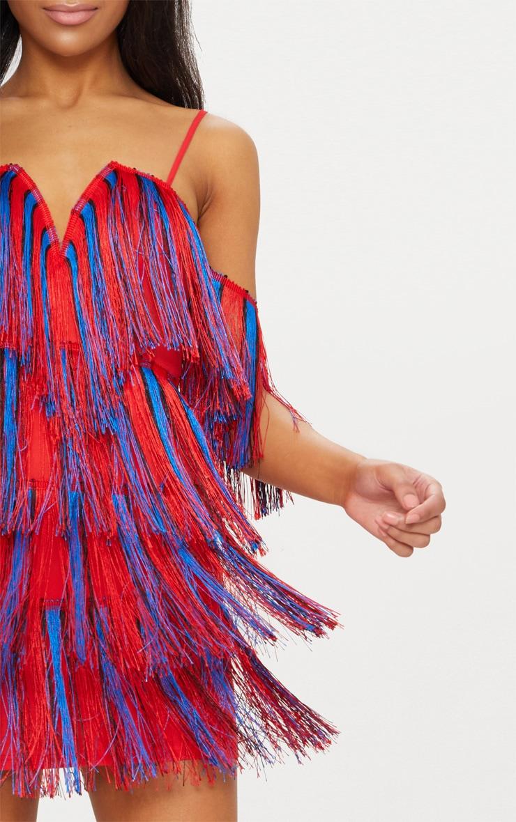 Red Stripe Tassel Bardot V Plunge Bodycon Dress 5