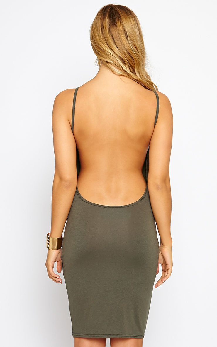 Natallia Khaki Scoop Back Jersey Mini Dress 2