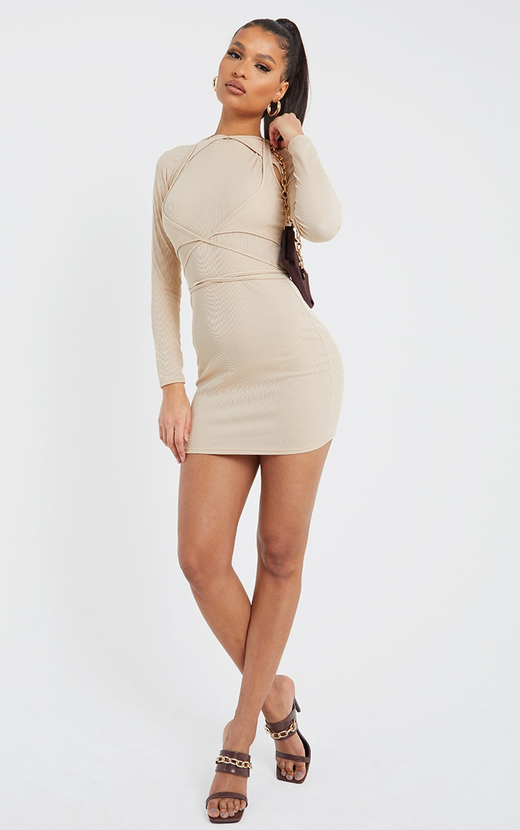 Stone Ribbed Layered Strappy Detail Long Sleeve Bodycon Dress image 3
